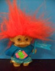 Troll Holding Flag Stating Crazy About You Orange Hair 3 Inches 9 99