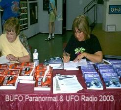 Ann Druffel and Paola Harris Signing their latest books at Roswell 2003